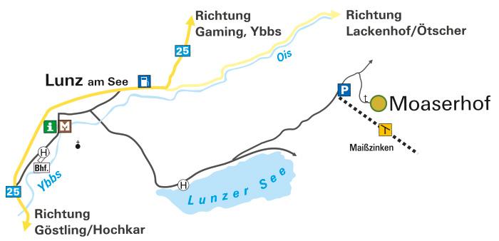 Anfahrtsplan Moaserhof - Lunz am See